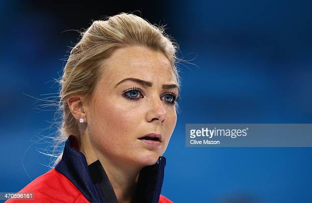Anna Sloan of Great Britain looks on during the Bronze medal match between Switzerland and Great Britain on day 13 of the Sochi 2014 Winter Olympics...