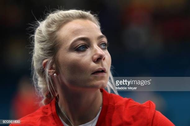 Anna Sloan of Great Britain looks on during Women's Round Robin Session 9 on day 10 of the PyeongChang 2018 Winter Olympic Games at Gangneung Curling...