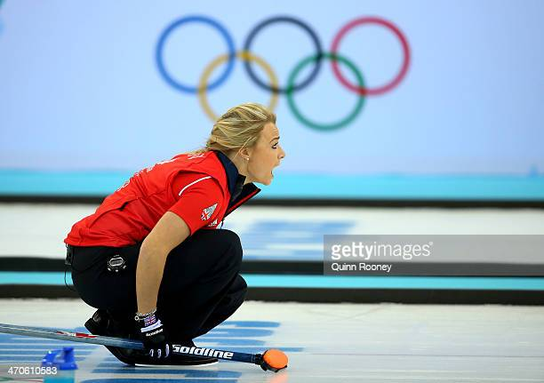 Anna Sloan of Great Britain shouts instructions during the Bronze medal match between Switzerland and Great Britain on day 13 of the Sochi 2014...
