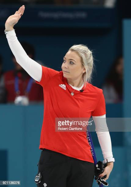 Anna Sloan of Great Britain waves to the crowd after they defeated Japan during the Women's Round Robin Session 10 on day eleven of the PyeongChang...