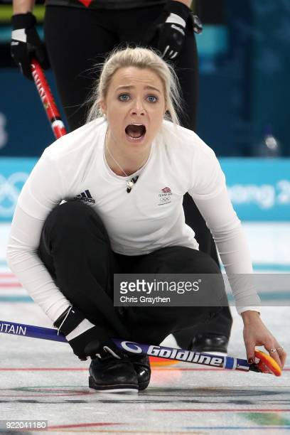 Anna Sloan of Great Britian competes against Canada during the Women's Round Robin Session 11 at Gangneung Curling Centre on February 21 2018 in...