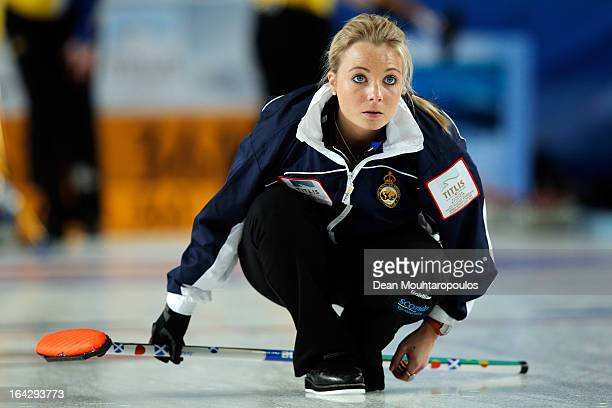 Anna Sloan of Scotland looks on after she throws a stone in the match between Scotland and Sweden on Day 7 of the Titlis Glacier Mountain World...