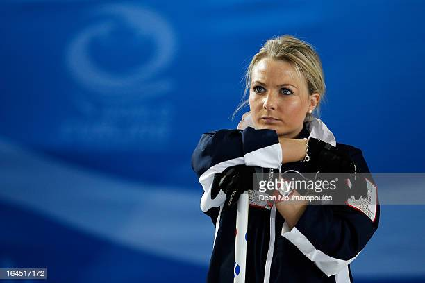 Anna Sloan of Scotland looks on during the Gold medal match between Sweden and Scotland on Day 9 of the Titlis Glacier Mountain World Women's Curling...