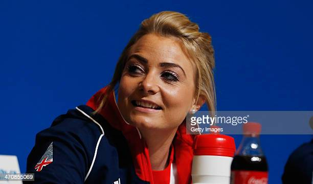 Anna Sloan of the Great Britain Curling team speaks with the media during a press conference after Team GB won the bronze medal on day 13 of the...