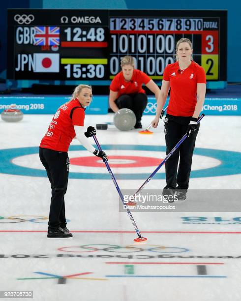 Anna Sloan Vicki Adams and Lauren Gray of Great Britain during the Curling Womens' bronze Medal match between Great Britain and Japan on day fifteen...