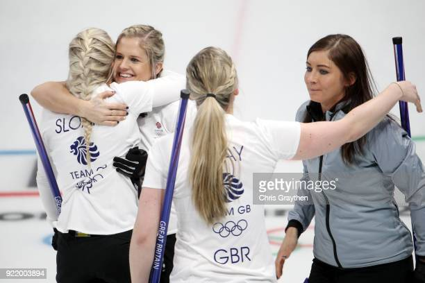 Anna Sloan Vicki Adams Lauren Gray and Eve Muirhead of Team Great Britian celebrates after defeating Canada 65 during the Women's Round Robin Session...