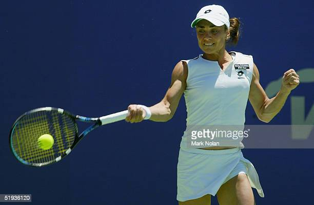 Anna Smashnova of Israel in action against Arantxa Parra Santonja of Spain during day three of the Canberra Women's Tennis Classic on January 11 2005...