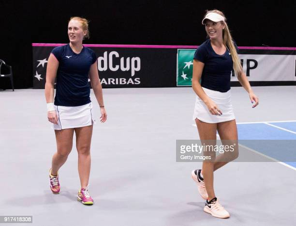 Anna Smith and Katie Boulter of Great Britain prior to the Europe/Africa Group B match of the Fed Cup by BNP Paribas at the Tallink Tennis Center on...