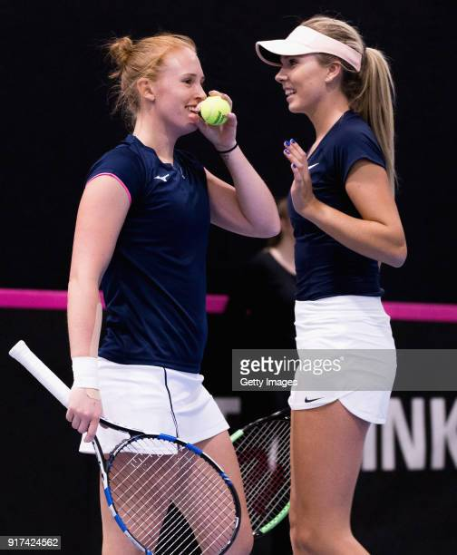Anna Smith and Katie Boulter of Great Britain react during the Europe/Africa Group B match of the Fed Cup by BNP Paribas between Anna Smith and Katie...