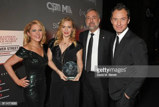 Anna Smith Kate Winslet winner of The Dilys Powell Award for Excellence in Film Rich Cline and Jude Law attend the London Film Critics' Circle Awards...