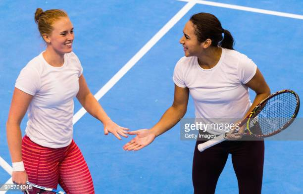Anna Smith of Great Britain and Heather Watson of Great Britain shake hands during the Great Britain Training session ahead of the Davis Cup by BNP...