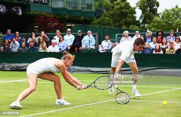 Anna Smith of Great Britain and Neal Skupski of Great Britain in action during the Mixed Doubles first round match against Colin Fleming of Great...