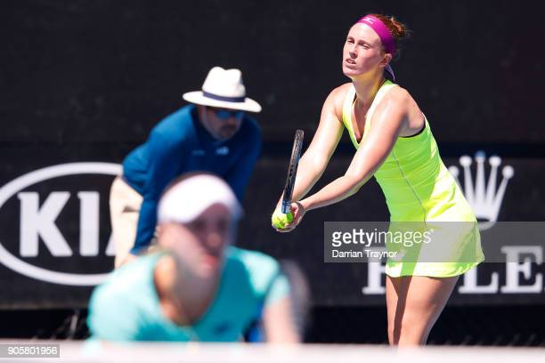 Anna Smith of Great Britain serves in her first round women's doubles match with Naomi Broady of Great Britain against Barbora Strycova of the Czech...