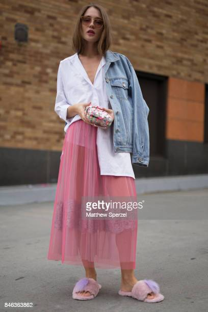 Anna Sokol is seen attending Babyghost during New York Fashion Week wearing Topman on September 12 2017 in New York City