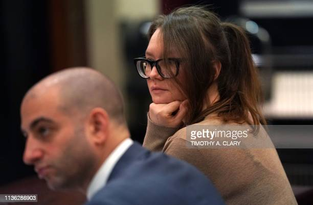 Anna Sorokin better known as Anna Delvey the 28yearold German national whose family moved there in 2007 from Russia is seen in the courtroom during...
