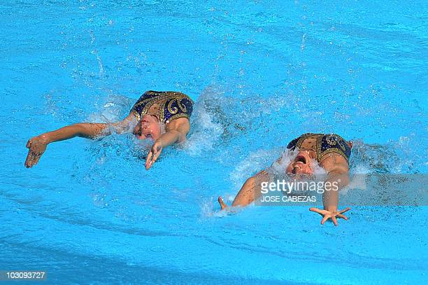 Anna Soto and Mary Soto of Venezuela perform their technical routine duet of syncronized swimming in Mayaguez Puerto Rico on July 26 2010 during the...