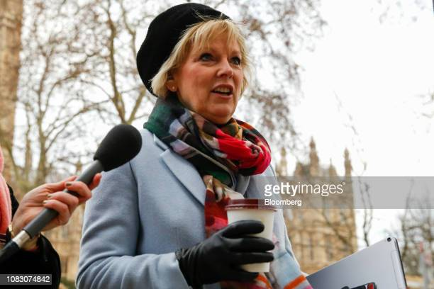 Anna Soubry a Conservative lawmaker walks past members of the media outside the Houses of Parliament in London UK on Tuesday Jan 15 2019 UK Prime...