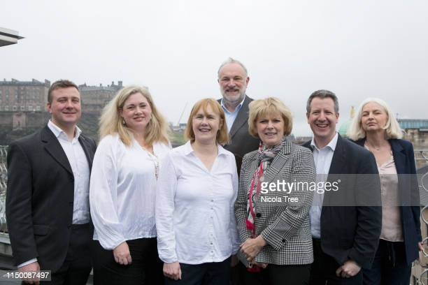 Anna Soubry and Chris Leslie pose with the MEP candidates for Scotland at Change UK The Independent Group's Edinburgh European election rally on May...