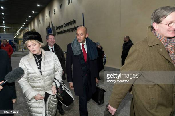 Anna Soubry Chuka Umunna and Dominic Grieve leave the Berlaymont building headquarters of the European Commission after a meeting with Chief Brexit...