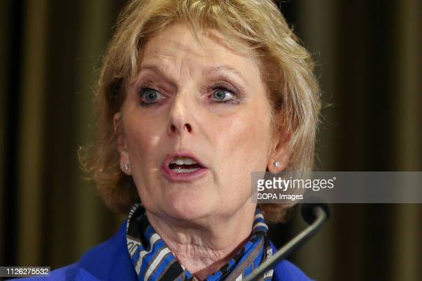 Anna Soubry is seen speaking during the press conference Former Conservative MPs Anna Soubry Sarah Wollaston and Heidi Allen are seen at a press...