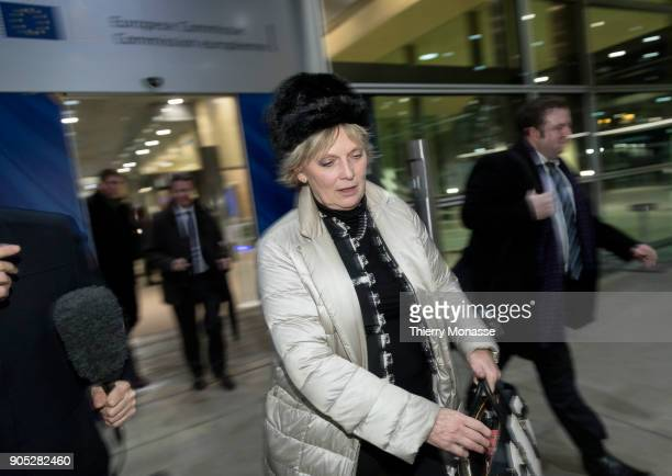 Anna Soubry leaves the Berlaymont building headquarters of the European Commission after a meeting with Chief Brexit Negotiator Michel Barnier on...