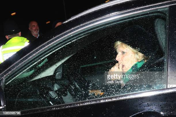 Anna Soubry leaves Westminster after the government defeated a vote of no confidence in the House of Commons on January 16 2019 in London England...