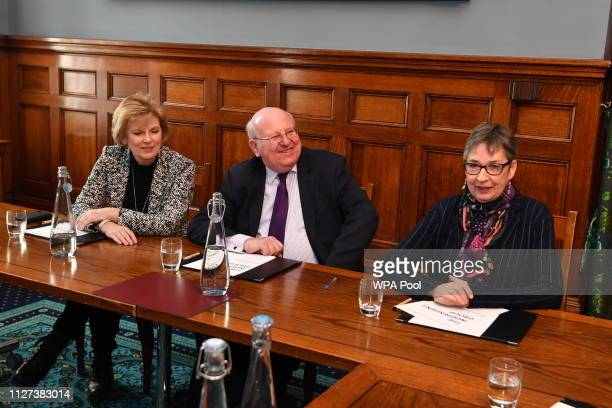 Anna Soubry Mike Gapes and Ann Coffey of the independent group of MPs hold their inaugural meeting at Institute of civil engineers on February 25...