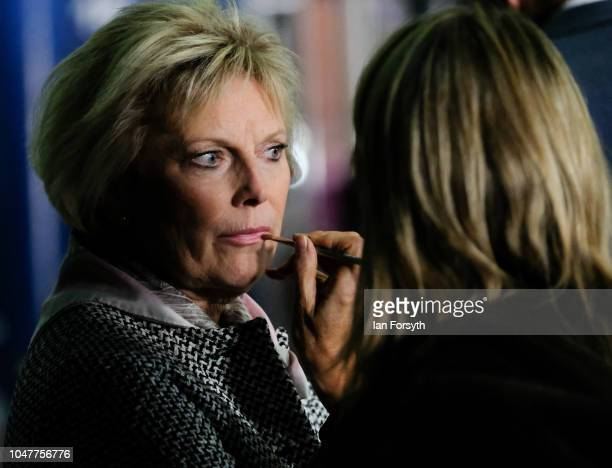 Anna Soubry MP for Broxtowe has makeup applied as she waits to take part in a Channel 4 news television interview with Jon Snow on day two of the...