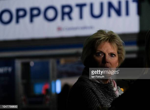 Anna Soubry MP for Broxtowe waits to take part in a Channel 4 news television interview with Jon Snow on day two of the Conservative Party Conference...