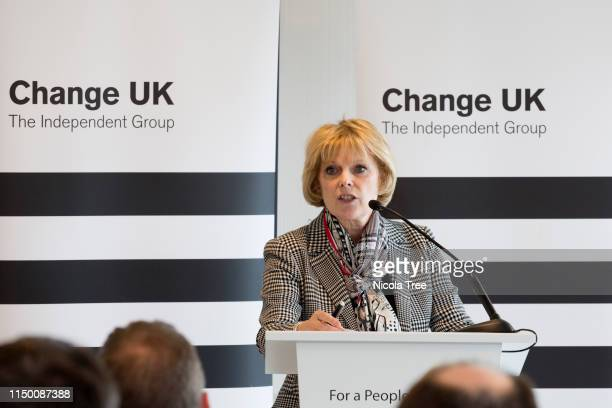 Anna Soubry MP speaking at Change UK The Independent Group's Edinburgh European election rally on May 18 2019 in Edinburgh United Kingdom