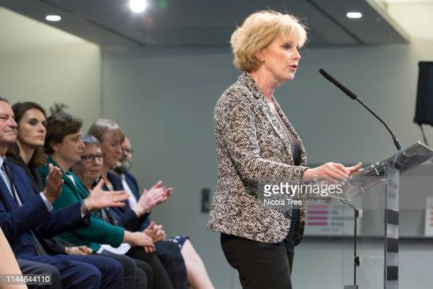 Anna Soubry MP speaking at the launch of Change UK The Independent Group's European election campaign at We The Curious on April 23 2019 in Bristol...