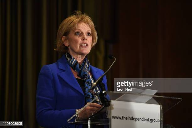 Anna Soubry speaks to the media during a press conference after resigning from the Conservative Party along with 2 other MPs on February 20 2019 in...