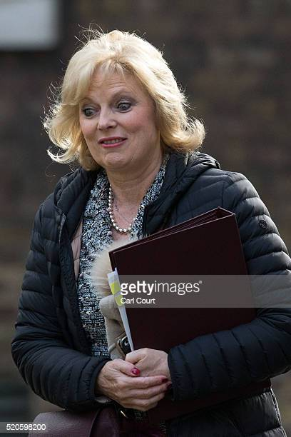 Anna Soubry the Minister for Small Business Industry and Enterprise arrives for a cabinet meeting at 10 Downing Street on April 12 2016 in London...