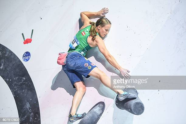 Anna Stohr of Austria during the World Championship Final Climbing at AccorHotels Arena on September 18 2016 in Paris France