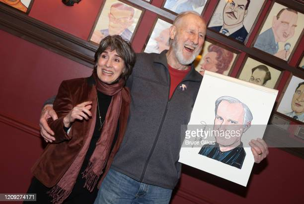 Anna Stuart and husband James Cromwell pose as Sardis honors James Cromwell with his caricature for his performance in broadway's Grand Horizons at...