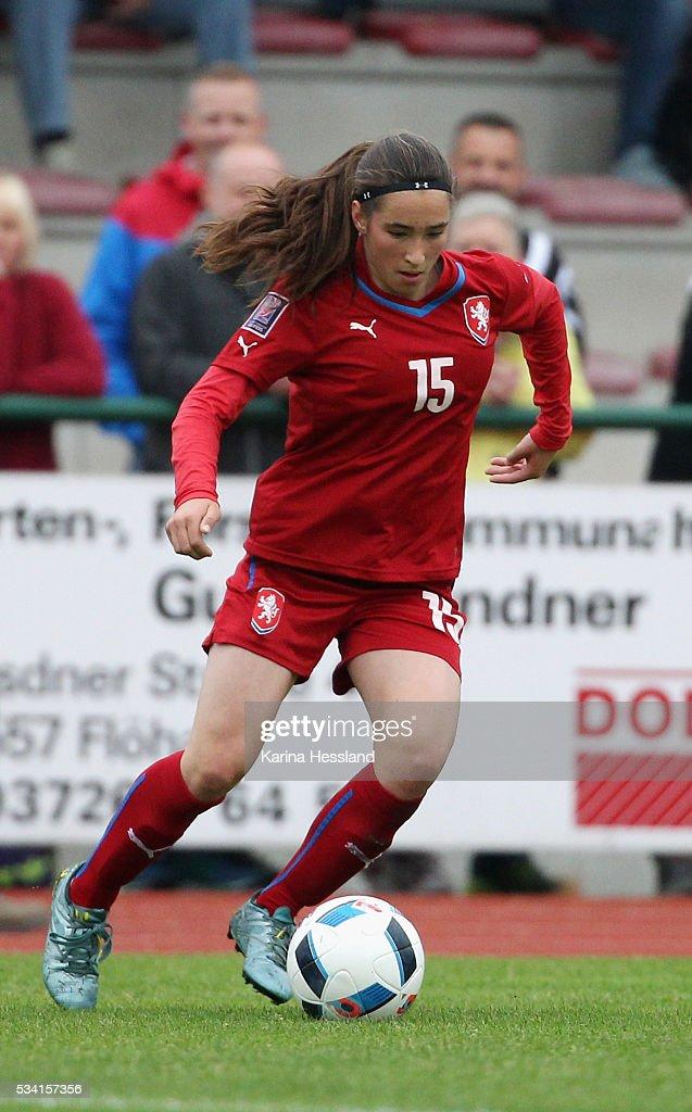 Anna Subrtova of Czech Republic during the International Friendly match between U15 Girls Germany and U15 Girls Czech Republic at Auenstadion on May 24, 2016 in Floeha, Germany.