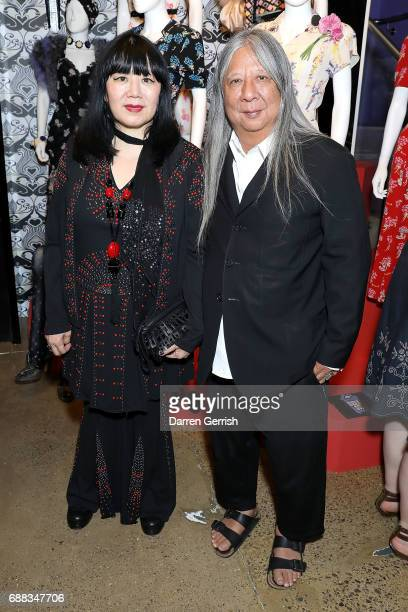 Anna Sui and John Rocha attend the World of Anna Sui Exhibition Private View at the Fashion and Textile Museum on May 25 2017 in London England