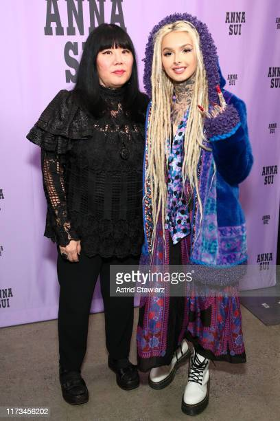 Anna Sui and Zhavia Ward pose backstage for Anna Sui during New York Fashion Week The Shows at Gallery I at Spring Studios on September 09 2019 in...