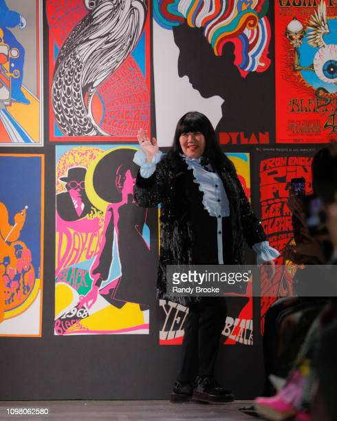 Anna Sui greets the audience after her Anna Sui Fall 2019 runway fashion show February 2019 during New York Fashion Week The Shows at Gallery I at...