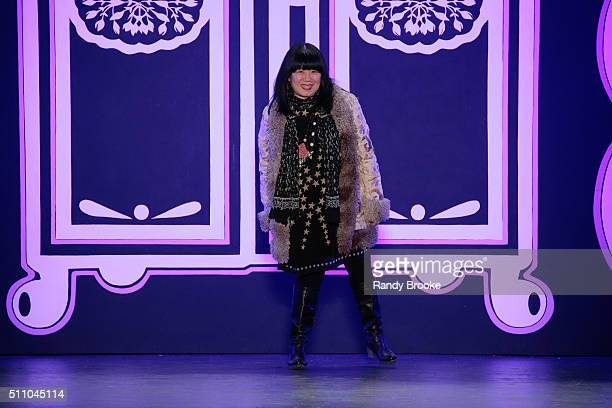 Anna Sui greets the audience after her Fall 2016 show during New York Fashion Week The Shows at The Arc Skylight at Moynihan Station on February 17...