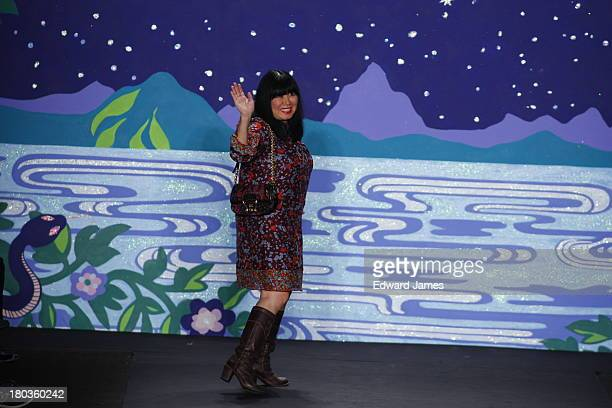 Anna Sui walks the runway at the Anna Sui show during Spring 2014 MercedesBenz Fashion Week at The Theatre at Lincoln Center on September 11 2013 in...