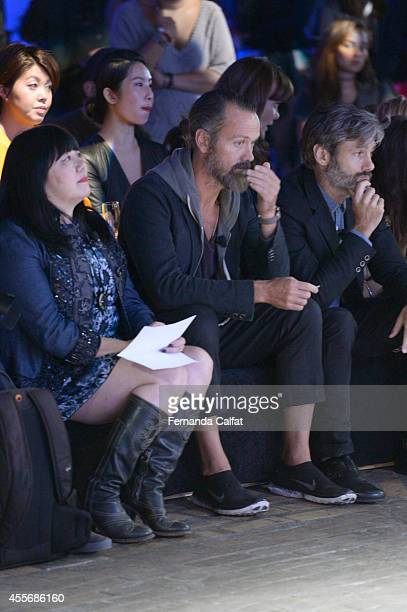 Anna SuiRogan Gregory and Scott Mackinlay attend at the runway show at the Parsons Design Lab for Mustang Unleashed runway show presented by Ford...