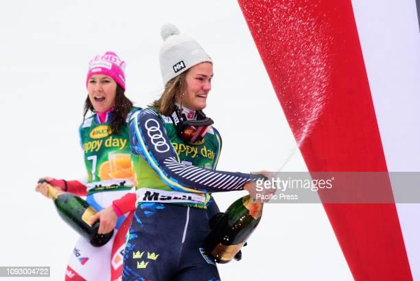 MARIBOR SLOVENIA MARIBOR SLOVENIA Anna Swenn Larsson of Sweden and Wendy Holdener of Switzerland enjoying champagne shower at the Audi FIS Alpine Ski...
