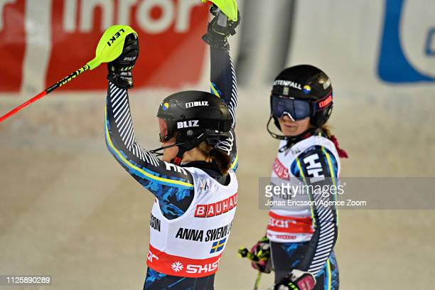 Anna Swenn Larsson of Sweden celebrates Frida Hansdotter of Sweden competes during the Audi FIS Alpine Ski World Cup Men's and Women's City Event on...