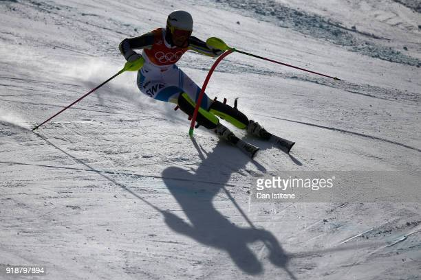 Anna Swenn Larsson of Sweden competes during the Ladies' Slalom Alpine Skiing at Yongpyong Alpine Centre on February 16 2018 in Pyeongchanggun South...