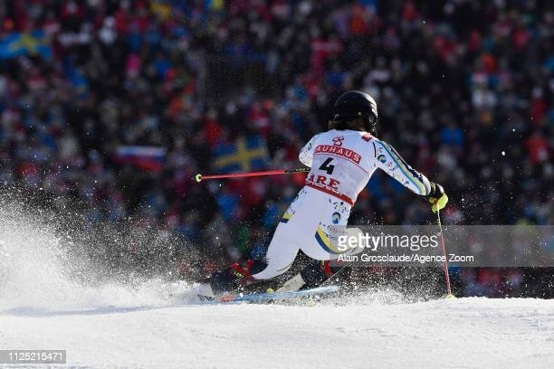 Anna Swenn Larsson of Sweden wins the silver medal during the FIS World Ski Championships Women's Slalom on February 16 2019 in Are Sweden
