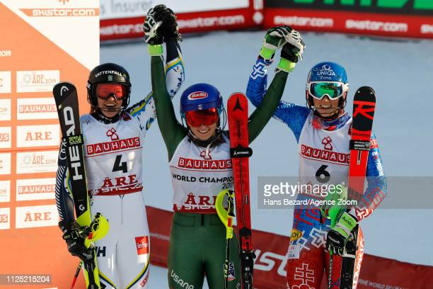 Anna Swenn Larsson of Sweden wins the silver medal Mikaela Shiffrin of USA wins the gold medal Petra Vlhova of Slovakia wins the bronze medal during...