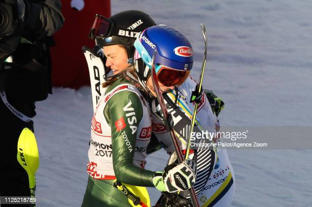 Anna Swenn Larsson of Sweden wins the silver medal Mikaela Shiffrin of USA wins the gold medal during the FIS World Ski Championships Women's Slalom...