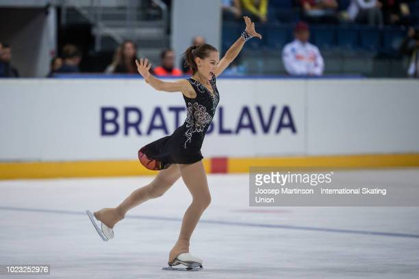 Anna Tarusina of Russia competes in the Junior Ladies Free Skating during the ISU Junior Grand Prix of Figure Skating at Ondrej Nepela Arena on...