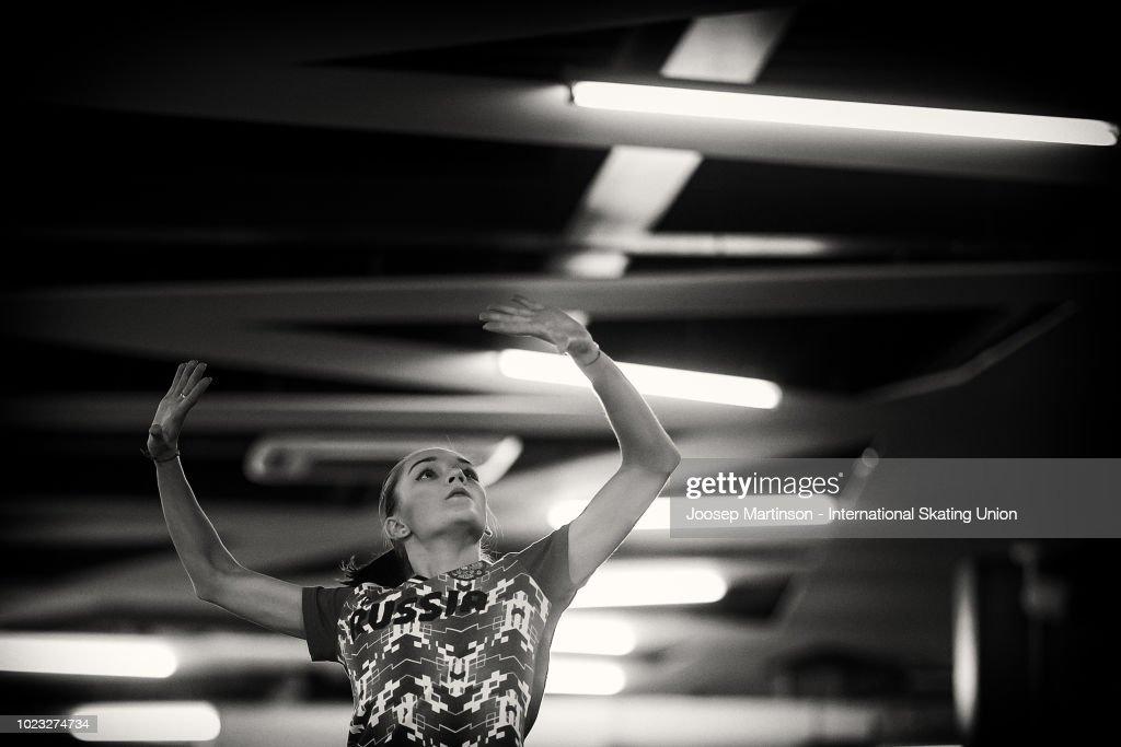 Anna Tarusina of Russia warms up prior to the Junior Ladies Free Skating during the ISU Junior Grand Prix of Figure Skating at Ondrej Nepela Arena on August 25, 2018 in Bratislava, Slovakia. (Photo by Joosep Martinson - International Skating Union (ISU)/ISU via Getty Images)